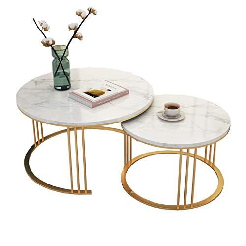 Tavolini da Salotto di Lusso di Lusso con Piano in Marmo, Set di tavoli da Salotto con Struttura in Ferro battuto in Metallo, Bianco/Oro