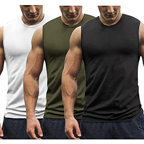 COOFANDY Mens Workout Tank Tops 3 Pack Gym Sleeveless Muscle Tee Bodybuilding Shirts (Large, White/Black/Army Green