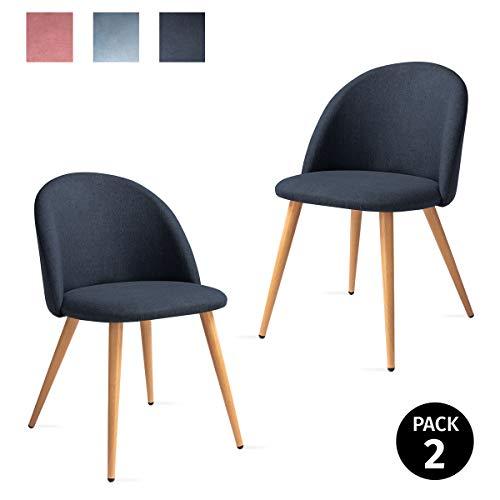 Mc Haus SOFI - Pack 2 Sillas Comedor Tapizadas de tela color Azul acero, Silla Nórdica Salón Dormitorio con Respaldo y Asiento Acolchados 49x46x77cm