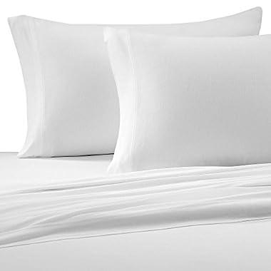Brielle Cotton Jersey Knit (T-Shirt) Sheet Set, King, White