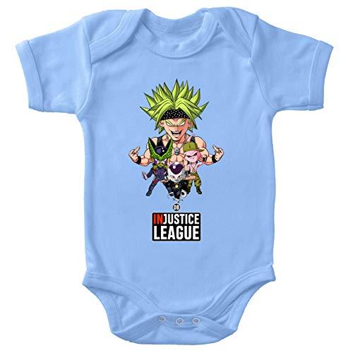 Body bébé manches courtes Garçon Bleu parodie Dragon Ball Z - DBZ - Broly, Cell, Freezer et Super Bou - DB INjustice League !(Body bébé de qualité supérieure de taille 12 mois - imprimé en France)