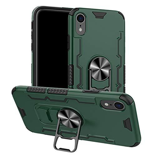 FMPCUON Cover Compatibile con iPhone XR, 360° Regolabile Anello Magnetica Supporto Ring [Cavatappi Case] TPU+PC Protezione a Doppio Strato Armor Protettiva Custodia, Verde
