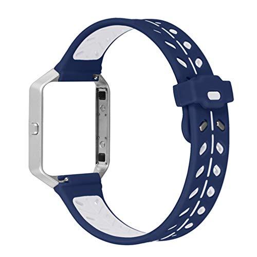 ibasenice Compatible para Fitbit Blaze Correa - Silicona Suave Correa de Reloj de reemplazo Pulsera Correa de Reloj Compatible para Fitbit Blaze (Azul + Blanco)