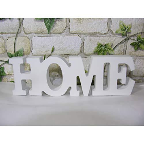 Koi Schriftzug Home Buchstaben Holz Schild Aufsteller 19cm weiß Shabby Deko MDF