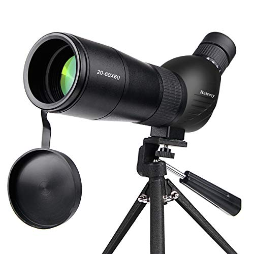 Spotting Scope, Huicocy 20-60x60mm Zoom 39-19m/1000m Fully Multi Coated Optical Lens Fogproof and Movable Eyepiece Rubber Design Telescope with Smartphone Mount Kit and Tabletop Tripod for Target
