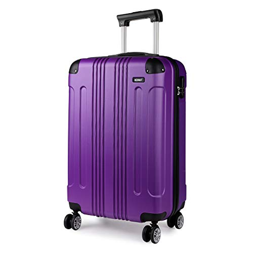 Kono 55x35x20cm Boarding Case Hard Shell ABS Travel Trolley Cabin Hand Luggage Suitcases 33L (Purple)