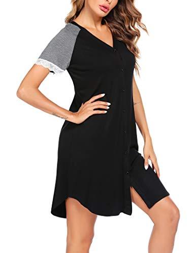 Ekouaer Women's Nightgowns V Neck Short Sleeves Sleep Night Shirts Soft Lace Pajama Dress S-XXL
