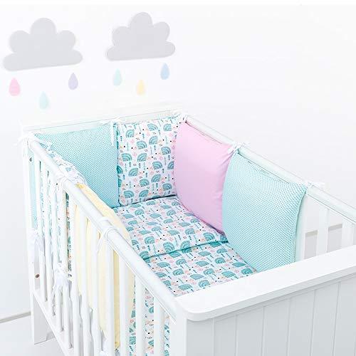 Sevira Kids – nestje kussen, verstelbaar, met omkeerbaar beddengoed, 14-delig – Herissons Tour de lit pour tous les lits Parure 90x120 Heri Rose