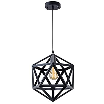 Vintage Modern Industrial Pendant Light, Industrial Polygon Geometric Light Simple Iron Bar Welding Design Hanging Light Fixture 60W Max (No Plug-in, No Bulb Included)
