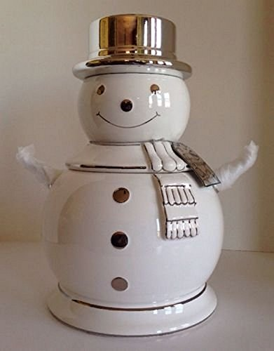 2008 Bath & Body Works Slatkin Limited Edition Snowman Cookie Jar Canister with Lid