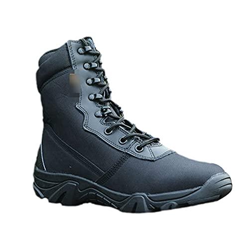 Botas tácticas militares de tobillo de otoño de camuflaje botas de combate zapatos de trabajo, Black, 44 EU