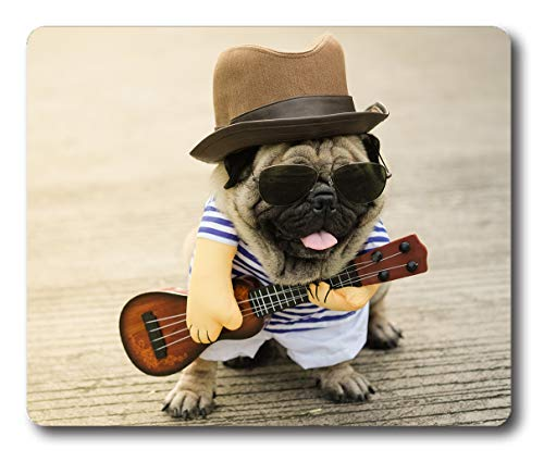 Ice Rabbit Mouse Pad Musician Guitarist Pug Dog Gaming Non-Slip Rubber Rectangle Mousepad