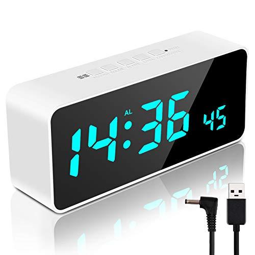 Digitaler Wecker mit App Kontrolle, LED Digitaluhr mit USB-Anschluss, Temperatur/Feuchtigkeit und 100 Farben, Spiegel Tischuhr mit 9 Alarme 8 Alarmtöne 4 Aufzeichnungen Schlummerfunkion (Weiß)