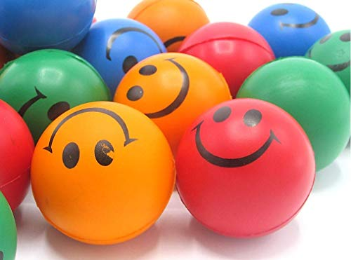 Smile Stress Balls Smiley Face Squeezable Foam Stress Balls 12 Pack Assorted Neon Colors Tension Relief Activity Balls Pressure Relieving Health Balls Therapeutic Relaxing Balls Party Favors