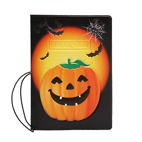 Cabilock Porta-passaporte com padrão de abóbora, multifuncional, casual, prático porta-cartão, porta-cartão para passaporte