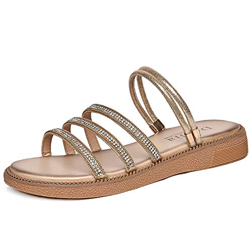 Verano Nuevos Zapatos De Mujer Casual Sandalias Planas De Diamantes De Imitación Y Zapatillas Tacones Planos Punta Abierta Romana Salvaje Sandalias De Moda Mujer