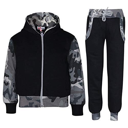 A2Z 4 Kids® Kinder Trainingsanzug Mädchen Jungen Designer Plain Kontrast - T.S Plain 101 Camo Charcoal 11-12
