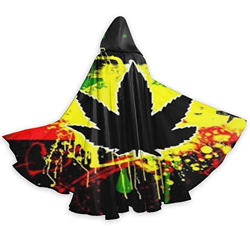 TYHG - Capa unisex con capucha para Halloween, juego de roles, 3D, color negro, cannabis, hojas de marihuana, disfraz de fiesta de Navidad, para mujeres, hombres, cosplay
