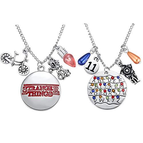 Ukodnus 2PC Stranger Things Necklace Alphabet Light Halloween Cosplay Jewelry for Girls Eleven Demogorgon