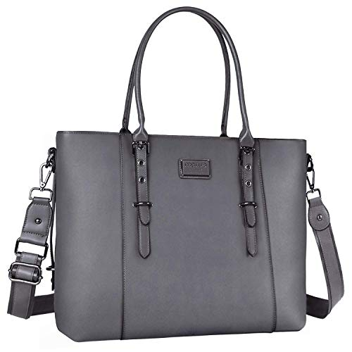 MOSISO PU Leather Laptop Tote Ba...