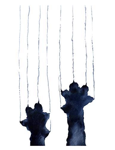 Naughty Black Cat Watercolor Cat Art Print by Artist DJ Rogers