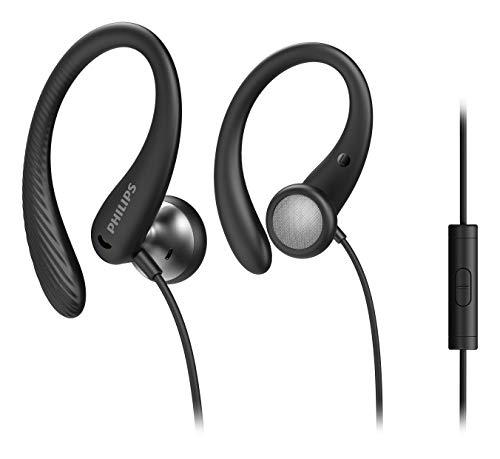 Philips Sportkopfhörer A1105BK/00 mit Mikrofon, In Ear Kopfhörer (Flexible Ohrbügel, Bass-Beat-Öffnung, IPX2 schweißresistent, Sicherer Sitz, Inline-Fernbedienung) Schwarz - 2020/2021 Modell