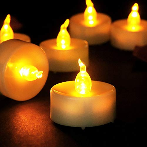 Flameless LED Tea Lights,Pack of 13,Realistic and Bright Flickering Bulb Battery Operated Electric Fake Candle for Wedding,Table,Gift,Outdoor & Festival Celebration