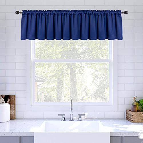 MIULEE Blackout Valance Rod Pocket Thermal Insulated Window Treatment Tiers Solid Short Curtain for Small Window Bedroom 52 x 18 Inches 1 Panel Navy Blue