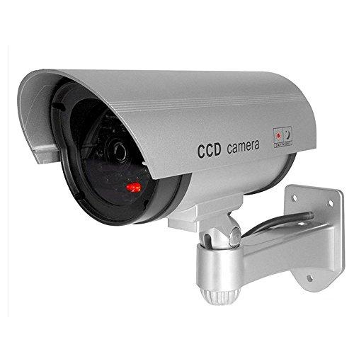 ELEAR Plata Falsa Seguridad Ficticia cámara de CCTV Dummy Simulada impermeable Parpadeante IR LED exterior Interior vigilancia