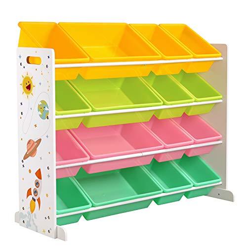 SONGMICS Spielzeugregal, Spielzeug-Organizer, Kinderzimmerregal mit 16 abnehmbaren PP-Kunststoffboxen, für Kinderzimmer, Spielzimmer, Schule, gelb, hellgrün, rosa und samargdgrün GKR070W01