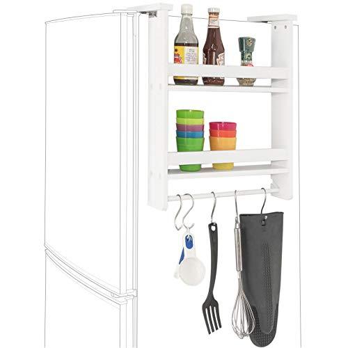 SoBuy® FRG149-W Hängeregal für Kühlschrank mit 5 Haken Türregal Küchenregal Gewürzregale mit 2 Ablagen,BHT ca.: 42x50x9cm