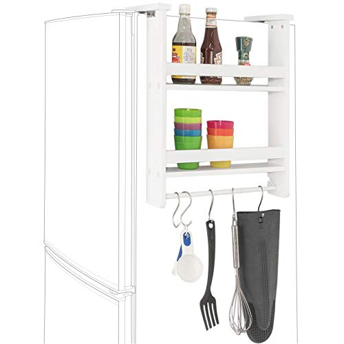 SoBuy FRG149-W Keukenplank | Kruidenrek met 2 planken | Hangplank voor koelkast | 42x9x50 cm
