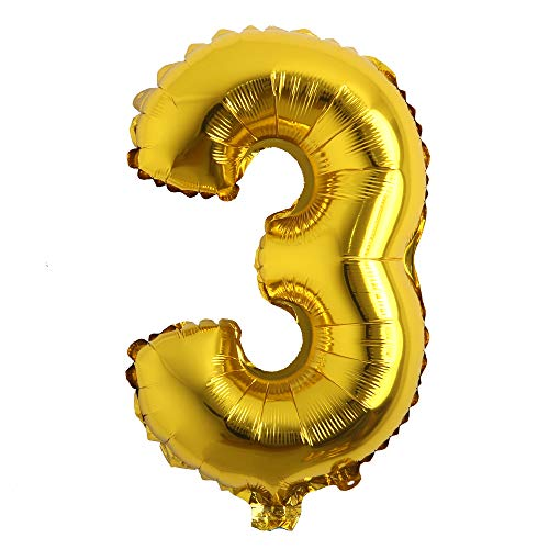 16' inch Single Gold Alphabet Letter Number Balloons Aluminum Hanging Foil Film Balloon Wedding Birthday Party Decoration Banner Air Mylar Balloons (16 inch Gold 3)