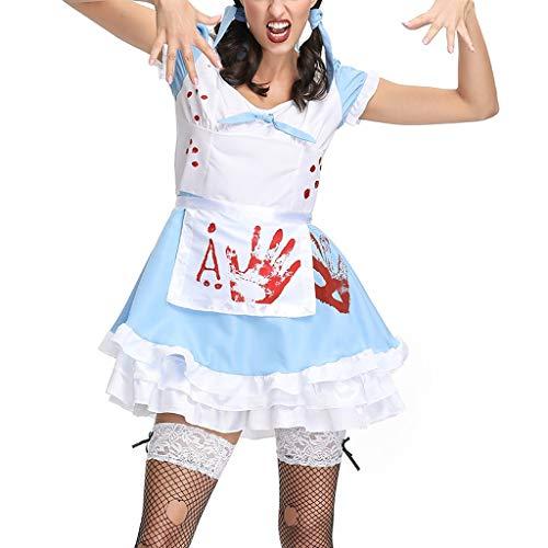 BaojunHT Damen Halloween Kostüme Vampir Blut Schule Mädchen Uniform/Maid Wear Cosplay Kleid Shirt Set, blau, M