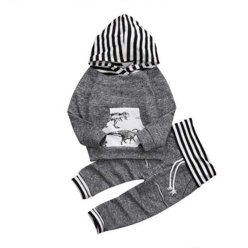 Geagodelia Chándal para bebé con capucha, conjunto de niño de 0 a 3 años, sudadera de manga larga, diseño de dinosaurio + pantalones largos para otoño e invierno