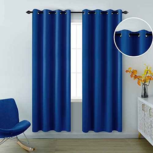 Blue Curtains 84 Inches Long for Living Room Set of 2 Panels Grommet Window Drapes Light Blocking Insulated Thermal Room Darkening Blackout Curtains for Bedroom 52 x 84 Inch Length