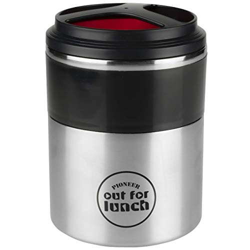 Pioneer Thermo-Speisebehälter 1,5 L Edelstahl Doppelwandig 2-in-1 mit Extra Breiten Öffnung, Isolier Lunch-Box für Suppe/Essen 4 Stunden Heiß 8 Stunden Kühl Auslaufsicher BPA-Frei – Rot/Schwarz