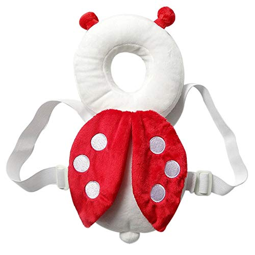 Hexingshan Baby Drop-Proof Pad Ladybug Shaped Toddler Head Protection Headrest Pillow Baby Safety Soft Pillow with Straps