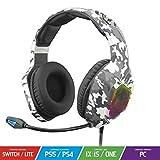 SPIRIT OF GAMER - Elite-H50 - Auriculares Audio Artic Gamer - Micrófono Flexible - Cojines De Cuero Sintético - SKULL LED RGB Backlight - 3.5mm Jack PS5 / XBOX X / PC / PS4 / XBOX ONE / Switch