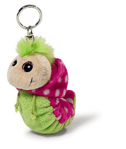 Nici 38479 - Flibbie Schlüsselanhänger mit Kapuze, 12 cm, grün/pink mit weissen Tupfen