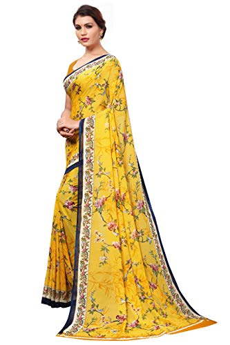 Kirtida Designer Soft Georgette Crepe Blend Saree With Blouse (Kd Garden Yellow_Free Size)