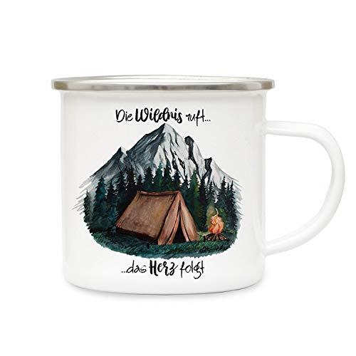 ilka parey wandtattoo-welt Emaille Becher Camping Tasse Zelt campen Wald Berge & Spruch Die Wildnis Ruft das Herz folgt Kaffeetasse Geschenk eb416