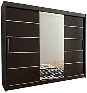 Multifunzione armadio scorrevole adatto per camera da letto,Wood color linee pulite del design moderno un sacco di spazio di archiviazione