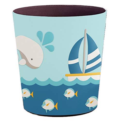 Batop Papierkorb Kinder, 10L Wasserdicht PU Leder Papierkorb Kinder Mülleimer mit Tier Motiv, Papierkorb für Kinderzimmer/Büro/Wohnzimmer (Boot)
