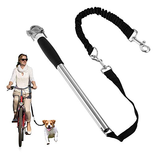 ECOCONUT Dog Bike Leash, Bicycle Dog Leash, Hands Free Bike Leash for Dogs, Safety Bike Dog Leash Fit for Outdoor Exercise, Dog Walking Essentials, Easy to Install and Removal. (Silvery)