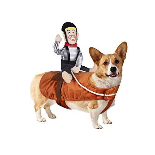POPETPOP Hund Kostüm lustige Cowboy Reiter Kleidung Hunde Outfit Ritter Stil Kleidung für Haustier Halloween Weihnachten Cosplay Party