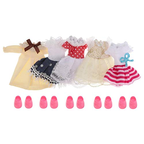 lahomia Set of 5 Cute Dolls Clothes Outfits for Mini Girl Dolls - 6 Inch Doll Clothes Mini Girl Doll Clothes Shoes Set 1/12 Scale Casual Clothing Accessory - Style 2