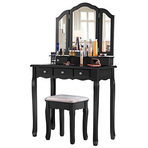 EPHEX Schminktisch mit 3 Spiegeln und 5 Schubladen und einem Hocker, Make-up Tisch Luxuriös Schminktisch mit Kippsicherung, Vanity Table, 140 x 80 x 40 cm (Schwarz)