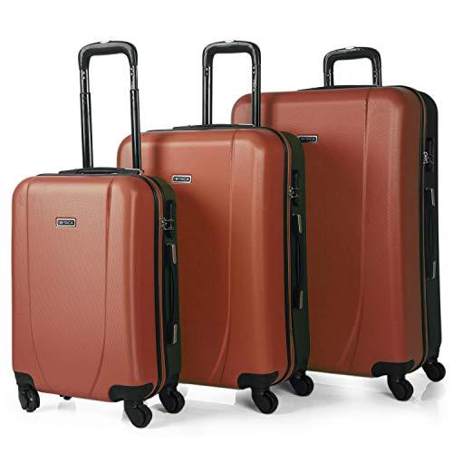ITACA - Juego de Maletas de Viaje Rígidas 4 Ruedas Trolley 55/65/75 cm ABS. Buenas Cómodas y Ligeras. Candado. Grande Mediana y Pequeña Cabina Ryanair. 71100, Color Coral-Antracita
