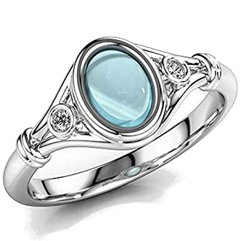 Jude Jewelers Rhodium Plated Oval Shaped Moon Stone Wedding Engagement Statement Anniversary Solitaire Ring  Blue 9